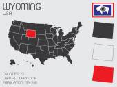 Set of Infographic Elements for the State of Wyoming — Stock Photo
