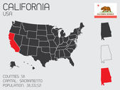 Set of Infographic Elements for the State of California — Stok Vektör