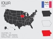 Set of Infographic Elements for the State of Iowa — Vettoriale Stock