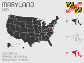 Set of Infographic Elements for the State of Maryland — Stock Vector