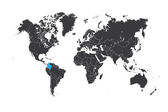 Map of the world with a selected country of Colombia — Stock Photo