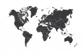 Map of the world with a selected country of Luxembourg — Foto Stock