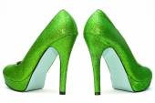Womens sparkly high heels — Stock Photo