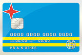 Illustration of a Credit Card with the Card being the flag of  A — Stock Vector