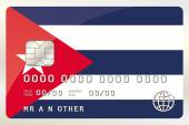 Illustration of a Credit Card with the Card being the flag of  C — Stock Vector