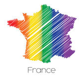 LGBT Coloured Scribbled Shape of the Country of France — Stock Photo