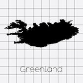 Squared Background with the country shape of Greenland — Stock Vector