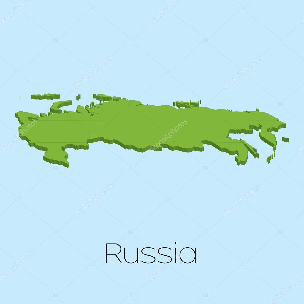 3d 地图上蓝色的水背景的俄罗斯