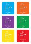 Illustrazione informativa dell'elemento periodica - Francio — Vettoriale Stock