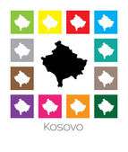 Multicoloured Map of the country of Kosovo — Stock Vector