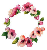 Hand painted watercolor wreath. Flower decoration. — Stock Photo