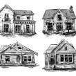 Set of private houses, hand drawn, vector illustration — Stock Vector #55851087
