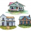 Set of private houses, hand drawn, vector illustration — Stock Vector #55851089