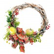 Hand painted watercolor wreath. Christmas decoration. — Stock Photo #57172375