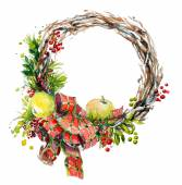 Hand painted watercolor wreath. Christmas decoration. — Stockfoto