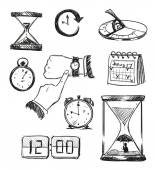 Freehand sketch of time symbols. Time icons. Vector illustration. — Stock Vector
