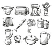 Set of kitchen appliance. Household utensils.  hand drawn. Vector illustraton. — Stock Vector