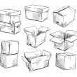 Set of doodle cardboard boxes. Vector illustration. — Vector de stock  #61065809