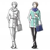 Fashion hand drawn illustration. Vector sketch.street fashion. — Stock Vector