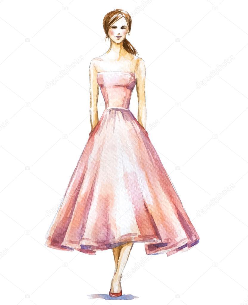 Рисунок девушки в платье акварелью