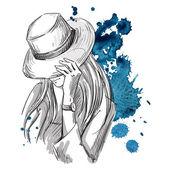 Flicka i hatt tittar ner. Fashion illustration — Stockvektor