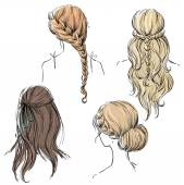 Set of different hairstyles. Hand drawn. — Stock Vector