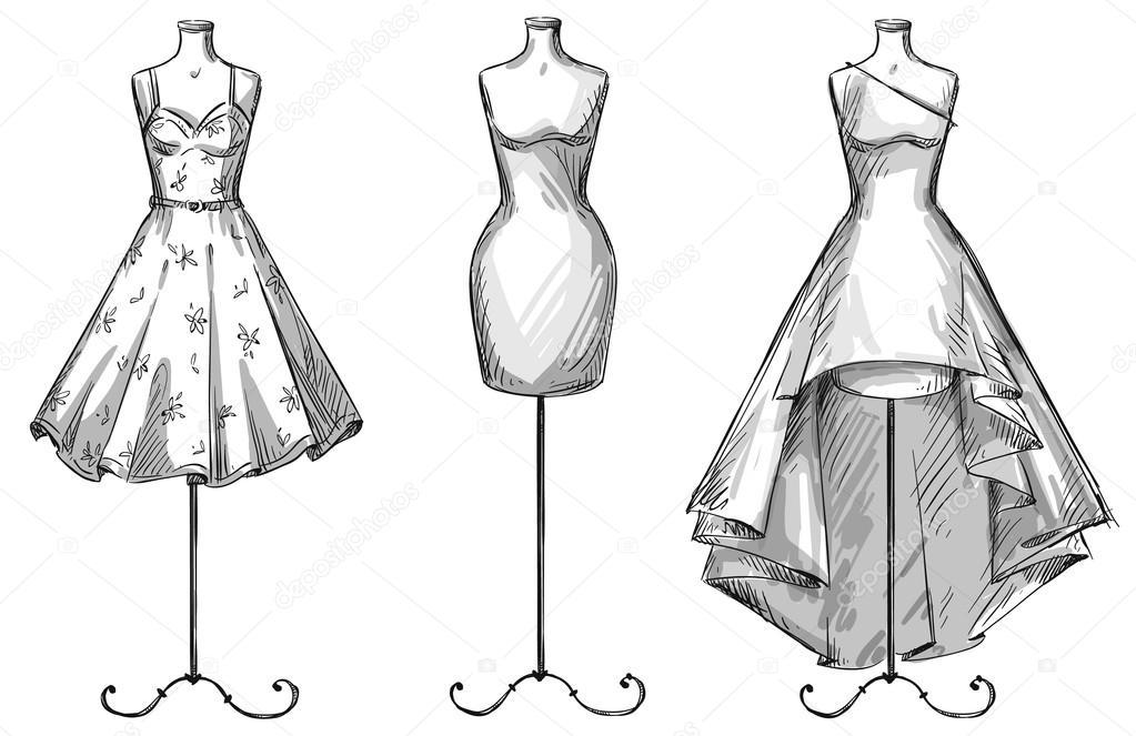 Одежда на манекене рисунки карандашом