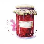 Fruit jam with a sticker. Mason jar. Watercolor. Hand painted. — Stockvektor