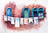 威尼斯的 windows。水彩绘画. — 图库照片