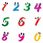 Cartoon numbers with eyes — Stock Vector