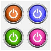 Set of isolated turn on, off glossy vector web buttons. Beautiful internet buttons. — Stock Vector