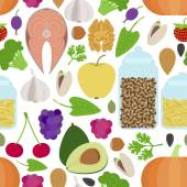 Seamless healthy food pattern on white background — Stockvektor
