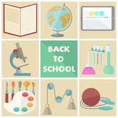 Set of nine school related flat icons  — Stockvektor