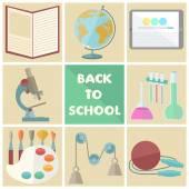 Set of nine school related flat icons  — Stock Vector
