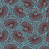 Brown seamless flower lace pattern on blue background — Stock Vector
