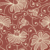 Beige seamless flower pattern on red background — Stock Vector