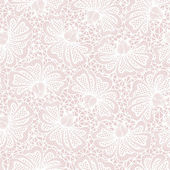 White seamless flower lace pattern on pink background — Stock Vector