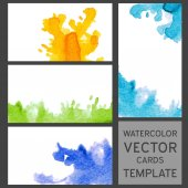 Set of grunge watercolor visit cards templates — Stock Vector
