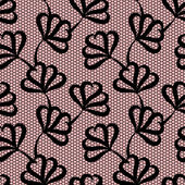 Black seamless floral pattern on pink background  — Vettoriale Stock