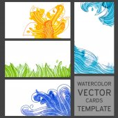 Set of grunge watercolor visit cards templates with drawings — Stock Vector