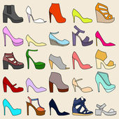 Set of 25 fashionable shoes  — Stock Vector
