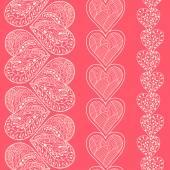 Seamless heart borders set — Stock Vector