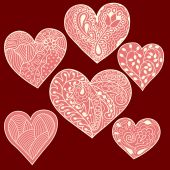 Set of 6 heart drawing — Vettoriale Stock