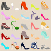 Set of different stylish shoes on beige background — Stock Vector
