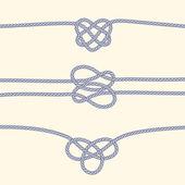 Insieme dei bordi di corda con nodi decorativi — Vettoriale Stock