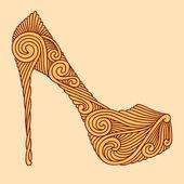 Brown ornamental shoe on light beige background — Stock Vector