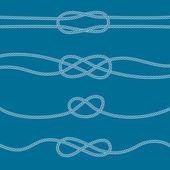 Set of marine knots: reef, carrick bend, overhand, figure 8. — Stock Vector