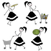 Girl character buying food — Stock Vector