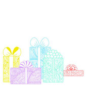 Gift boxes composition on white background — Stockvector
