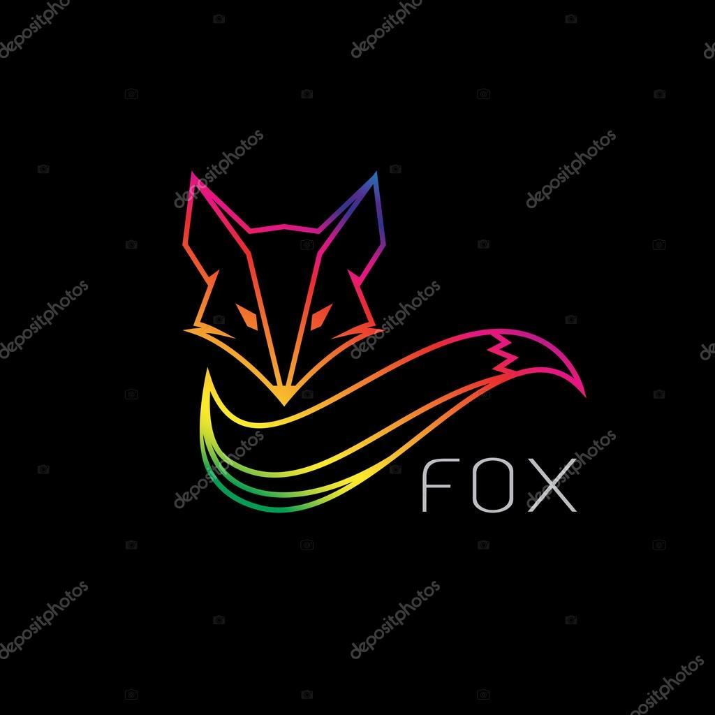 Image vectorielle d un dessin de renard sur fond noir - Dessin fond noir ...